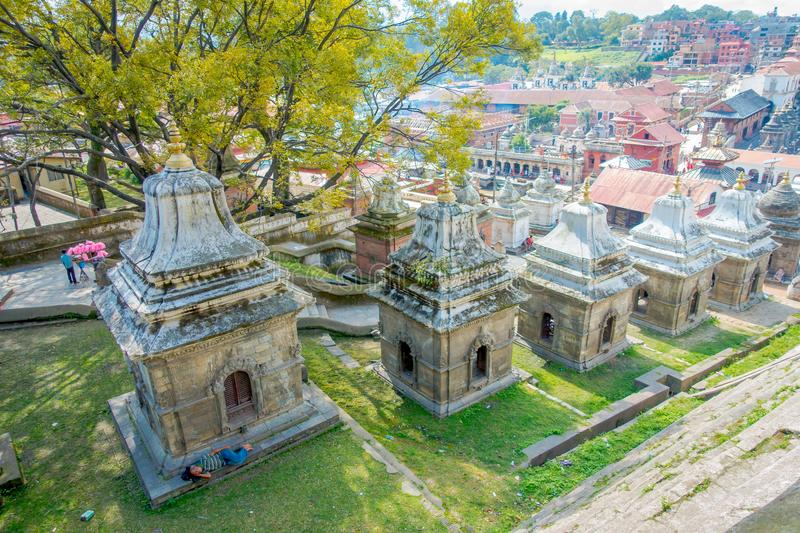 KATHMANDU, NEPAL OCTOBER 15, 2017: Aerial view of temple complex-crematory Pashupatinath. Churches chapels dedicated to royalty free stock photography