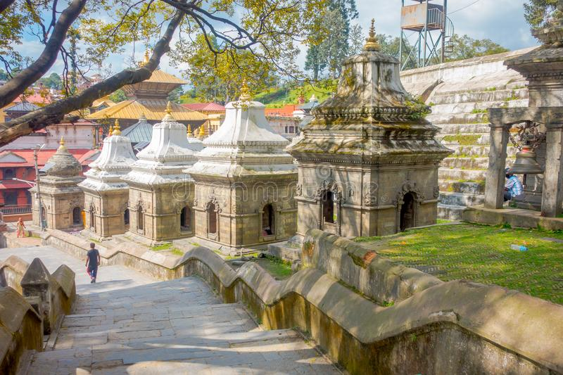 KATHMANDU, NEPAL OCTOBER 15, 2017: Aerial view of temple complex-crematory Pashupatinath. Churches chapels dedicated to stock photography