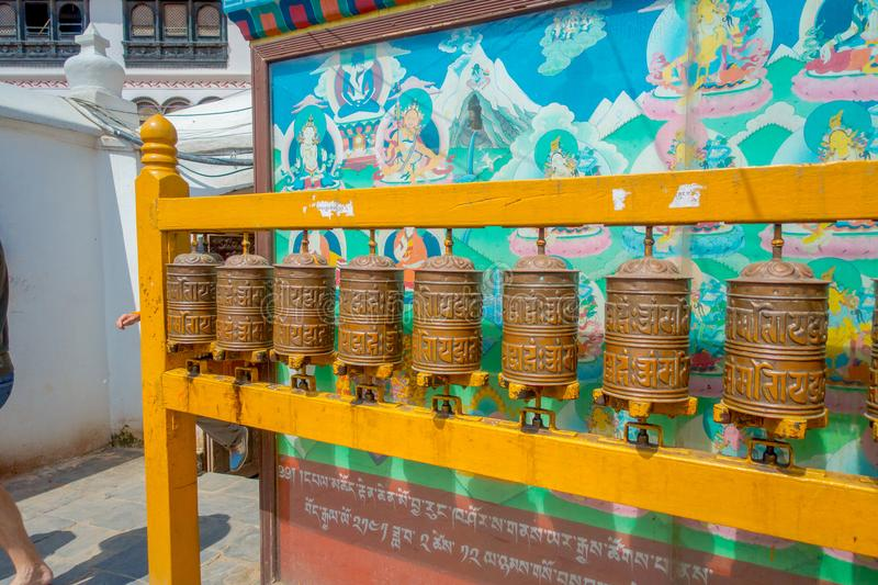 KATHMANDU, NEPAL OCTOBER 15, 2017: Close up of Nepalese religious carvings and prayer wheels at Swayambhu Temple also. Known as the Monkey Temple in Kathmandu royalty free stock photos