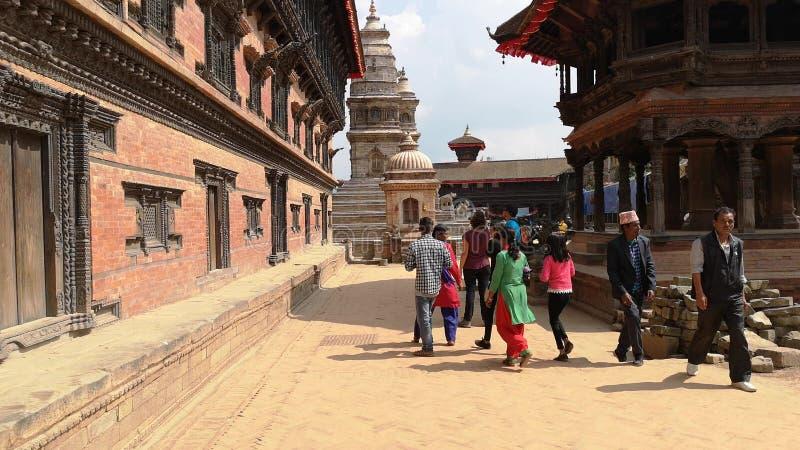 Kathmandu , Nepal - October 2018: Durbar square in Bhaktapur Kathmandu, Nepal. Bhaktapur is one of UNESCO World Heritage Sites. royalty free stock photography
