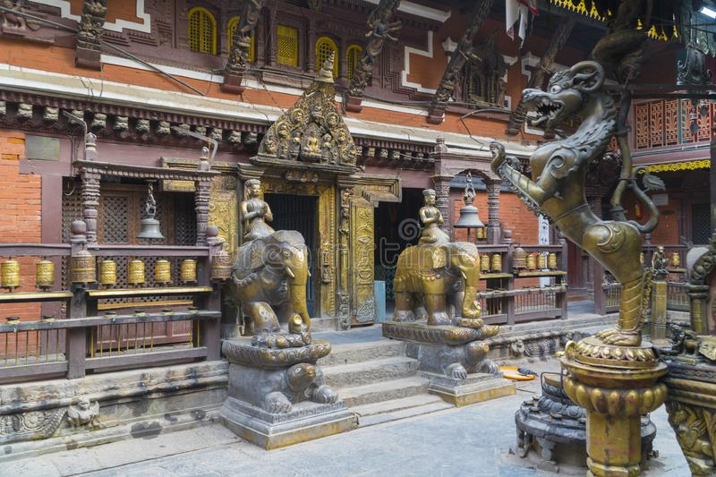 Kathmandu , Nepal - October 2018: Golden temple at Patan Durbar Square in Kathmandu, Nepal. Kathmandu Patan Durbar Square is one stock photography