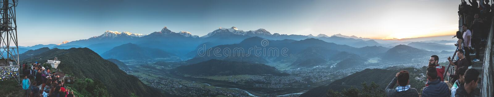 Panoramic view on Annapurna mountain range at sunset royalty free stock image