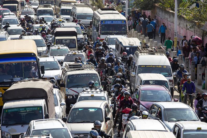 View of traffic jam on the day time in Kathmandu, Nepal. Crowded traffic jam road in city royalty free stock images