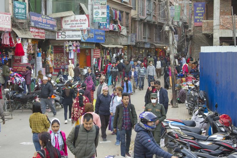 Pedestrian and shopping city street with people in Kathmandu royalty free stock image