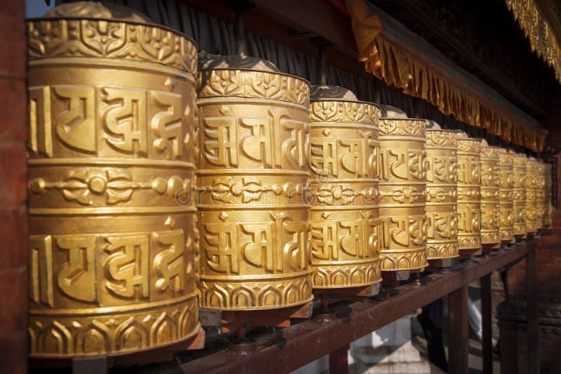 Kathmandu, Nepal. Prayer wheels at Swayambhunath stupa in Kathmandu, Nepal stock photos