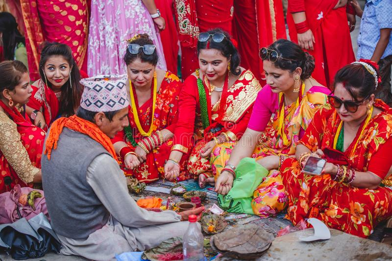Nepali Women offering prayers to god at Teej Festival royalty free stock images