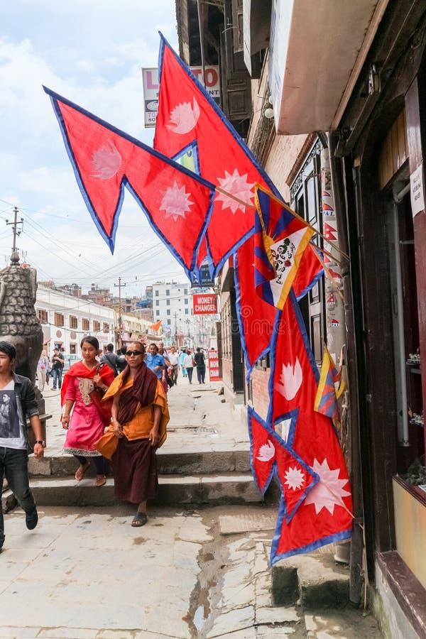 Kathmandu, Nepal - September 20, 2016: Nepalese people in Bhaktapur Durbar Square, Basantapur, Kathmandu, Nepal stock image