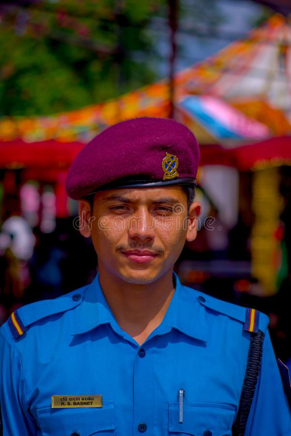 KATHMANDU, NEPAL - SEPTEMBER 04, 2017: Portrait of a Guard from the Nepalese Army posing for camera at the enter of. Bindabasini temple stock photos