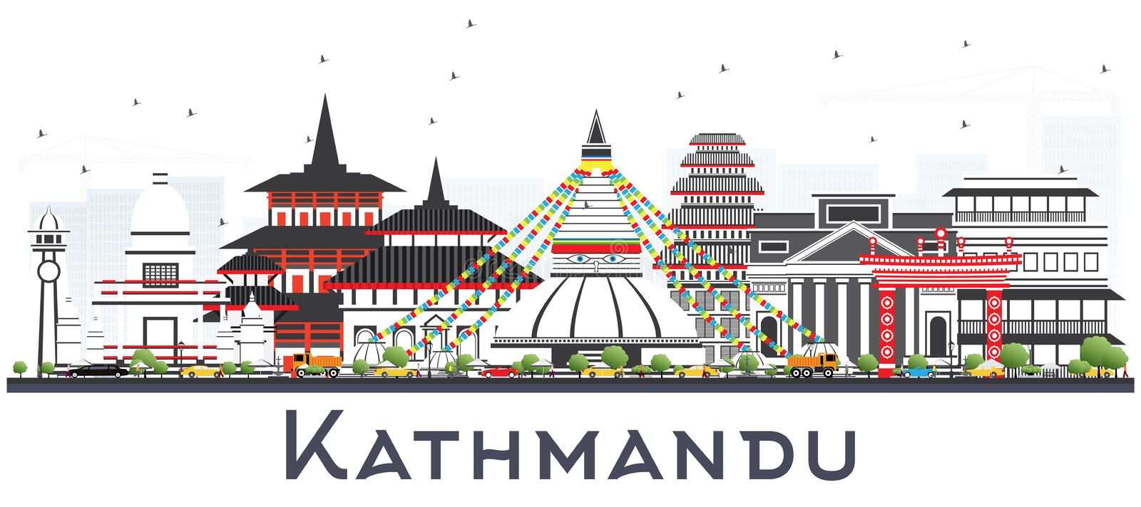 Kathmandu Nepal Skyline with Gray Buildings Isolated on White. Vector Illustration. Business Travel and Tourism Concept with Historic Architecture. Kathmandu stock illustration