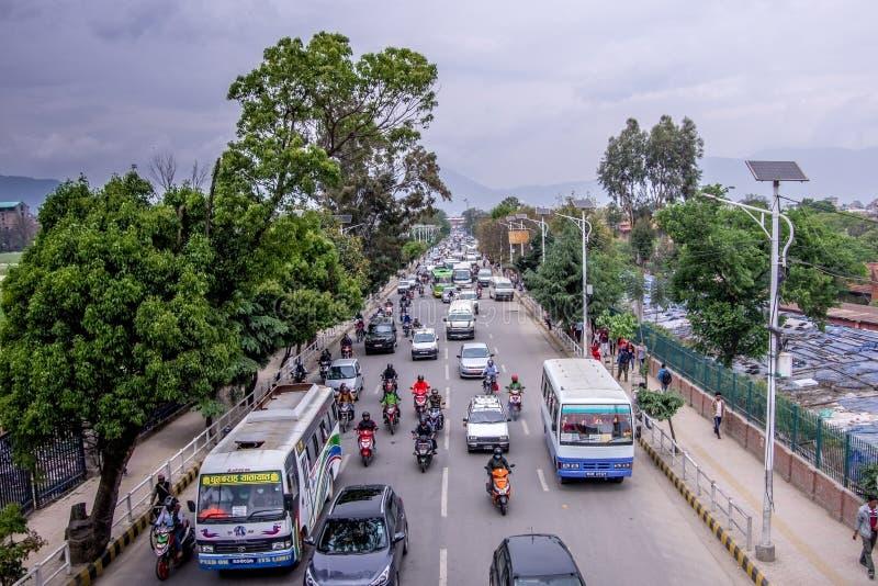 Kathmandu,Nepal 04.12.2018 Street traffic in the city of Kathmandu. stock photography