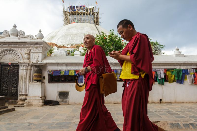 Tibetan monks at Boudhanath Stupa, Nepal stock image
