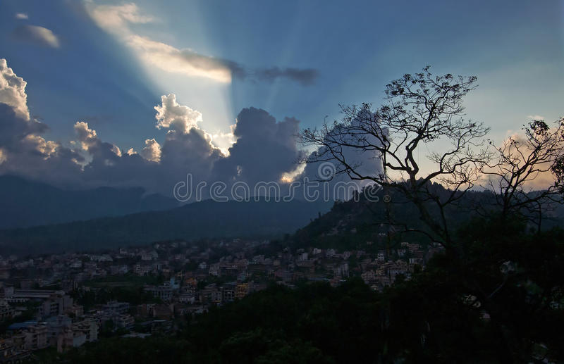 Kathmandu at the sunset, Nepal royalty free stock photography
