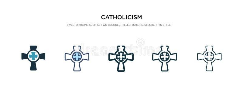 Katholicisme-pictogram in vectorillustratie van verschillende stijlen twee gekleurde en zwarte katholieke vectoriconen die in gev vector illustratie