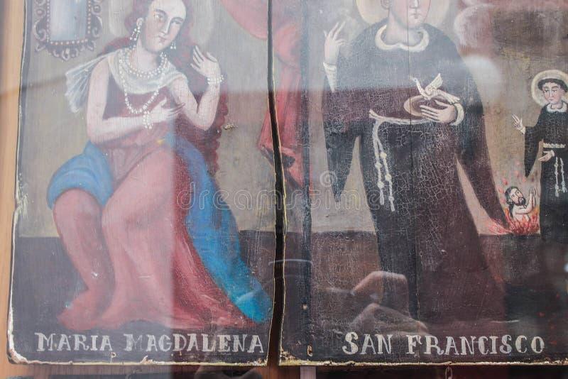Katholieke antieke schilderkerk Maria-christendom stock foto's