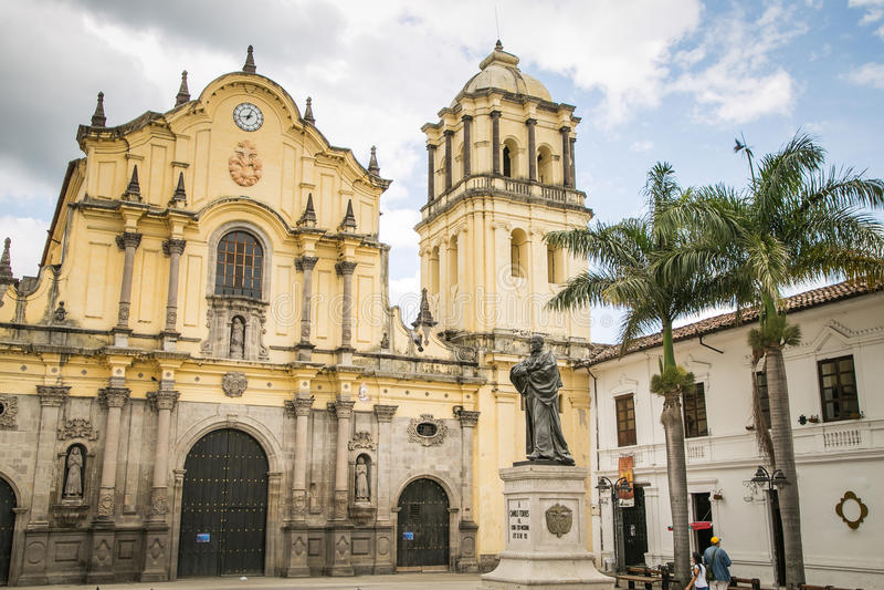 Katholieke kathedraal in witte stad popayan Colombia Zuid-Amerika stock foto