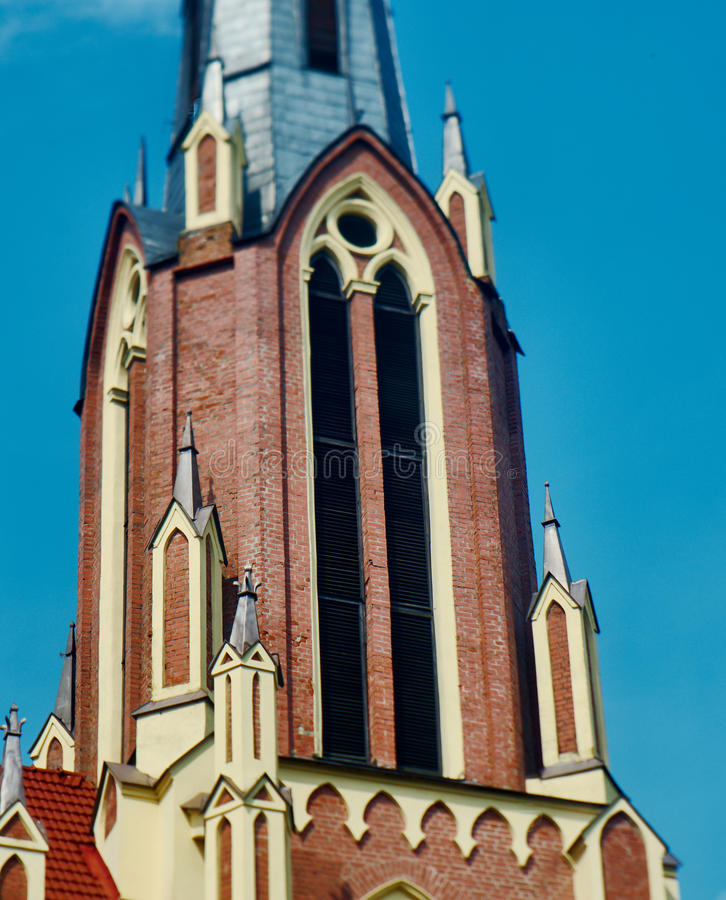 Katholieke Kerk in Gotische stijl in Gervyaty wit-rusland royalty-vrije stock foto