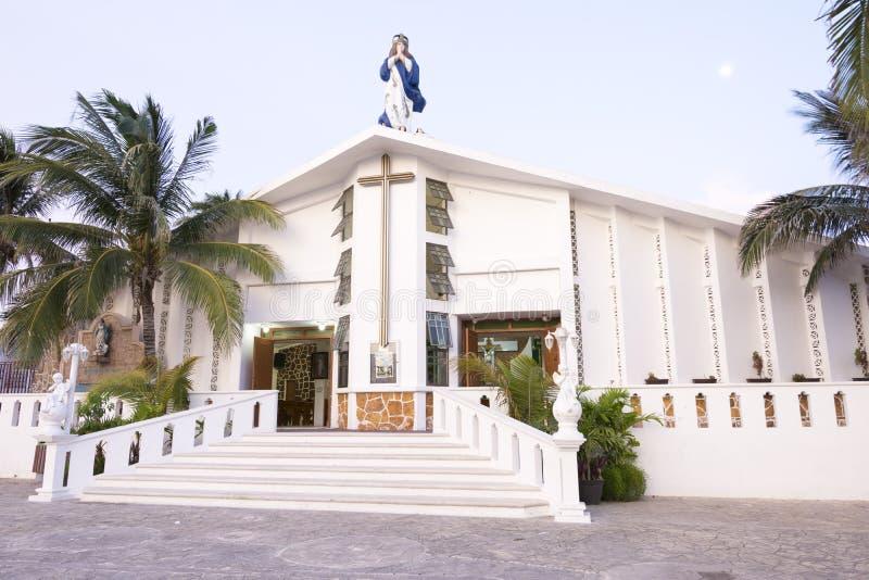 Katholieke kerk op Isla Mujeres stock afbeeldingen