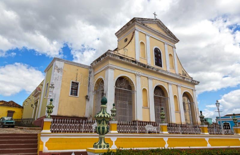 Katholieke Kerk van het Heilige Plein van de Drievuldigheidsvoorgevel Burgemeester Old Town Trinidad Cuba royalty-vrije stock afbeeldingen
