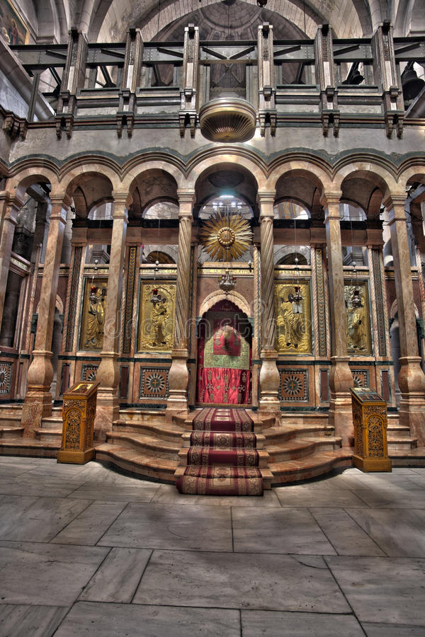 The Katholikon of the Holy Sepulchre. The Katholikon in the Basilica at the Church of the Holy Sepulchre in the old city of Jerusalem, Israel. HDR stock photography