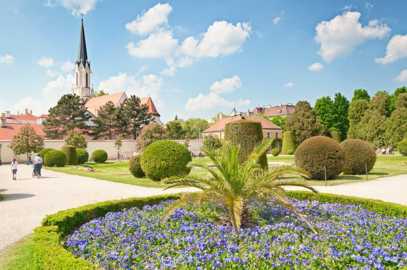 Katholische Gemeindekirche Maria Hietzing nahe Schonbrunn-Palast in Wien stockfotografie