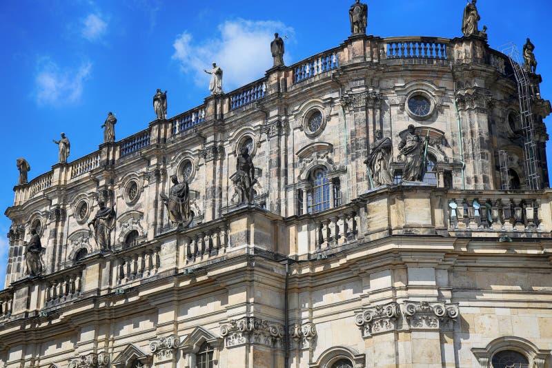 Katholische Hofkirche, Schlossplatz in Dresden, Staat van Saksen, stock foto's