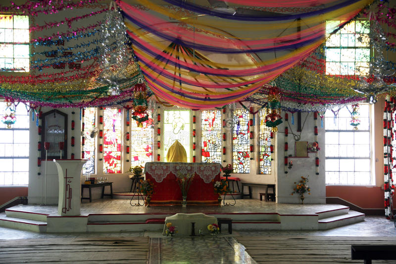 Katholische Kirche in Bamanpukur, Westbengalen stockbild