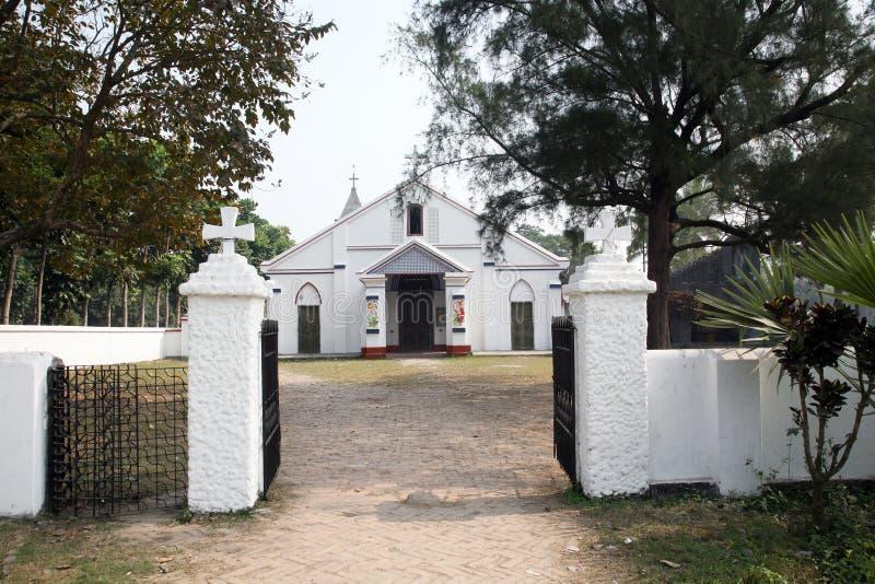 Katholische Kirche in Basanti, Westbengal, Indien lizenzfreies stockbild