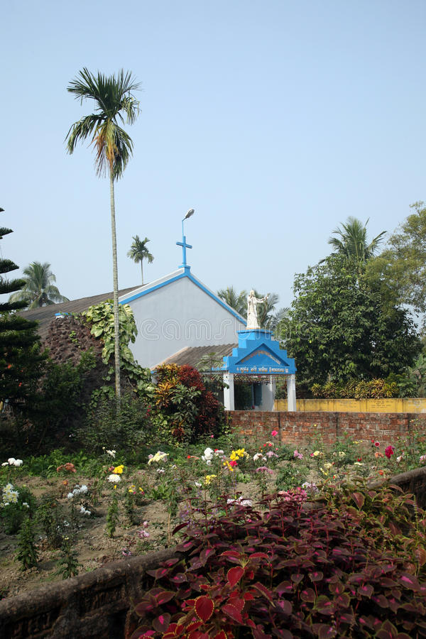Katholische Kirche in Kumrokhali, Westbengalen stockbild