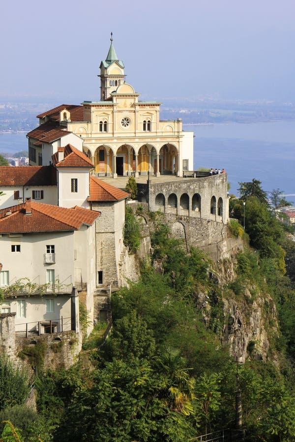 Katholische Kirche von Madonna Del Sasso, Locarno, die Schweiz lizenzfreie stockfotos