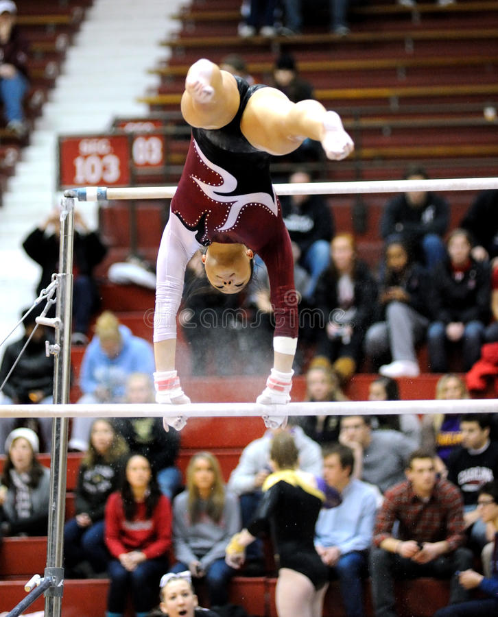 Kathryn Ho - uneven bars gymnastic routine royalty free stock photo