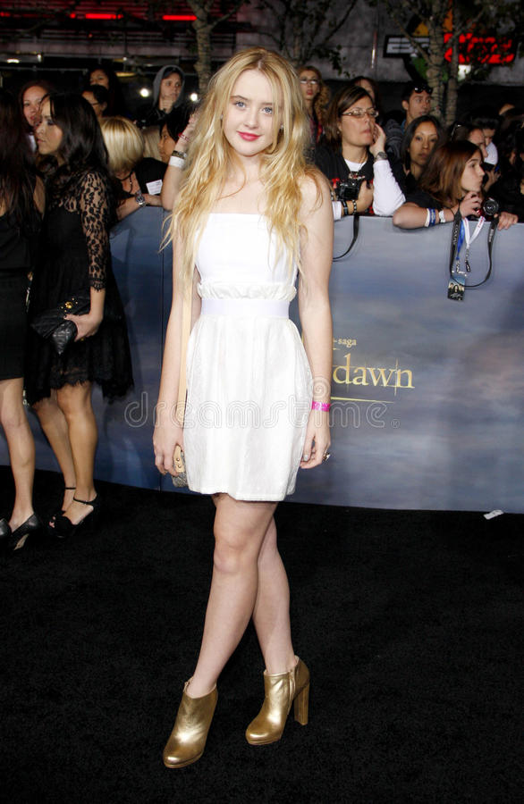 Kathryn Newton. At the Los Angeles premiere of The Twilight Saga: Breaking Dawn - Part 2 held at the Nokia L.A. Live Theatre in Los Angeles, United States royalty free stock image