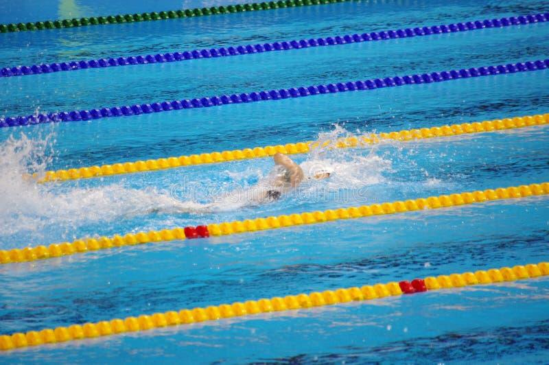 Katie Ledecky in Olympische pool bij Rio2016 royalty-vrije stock afbeeldingen