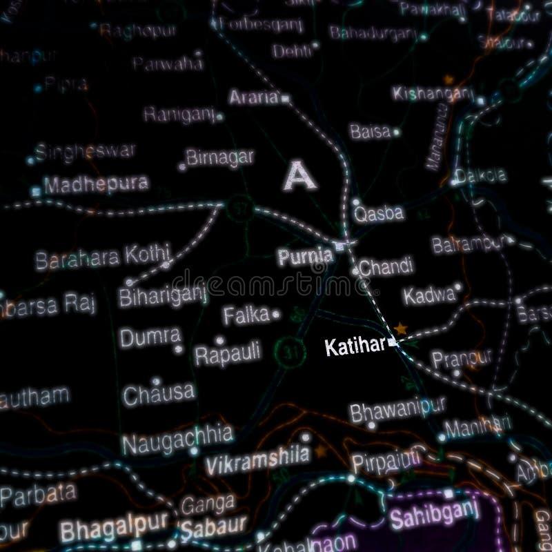 Katihar-Ortsname auf der geografischen Karte in Indien stockfoto