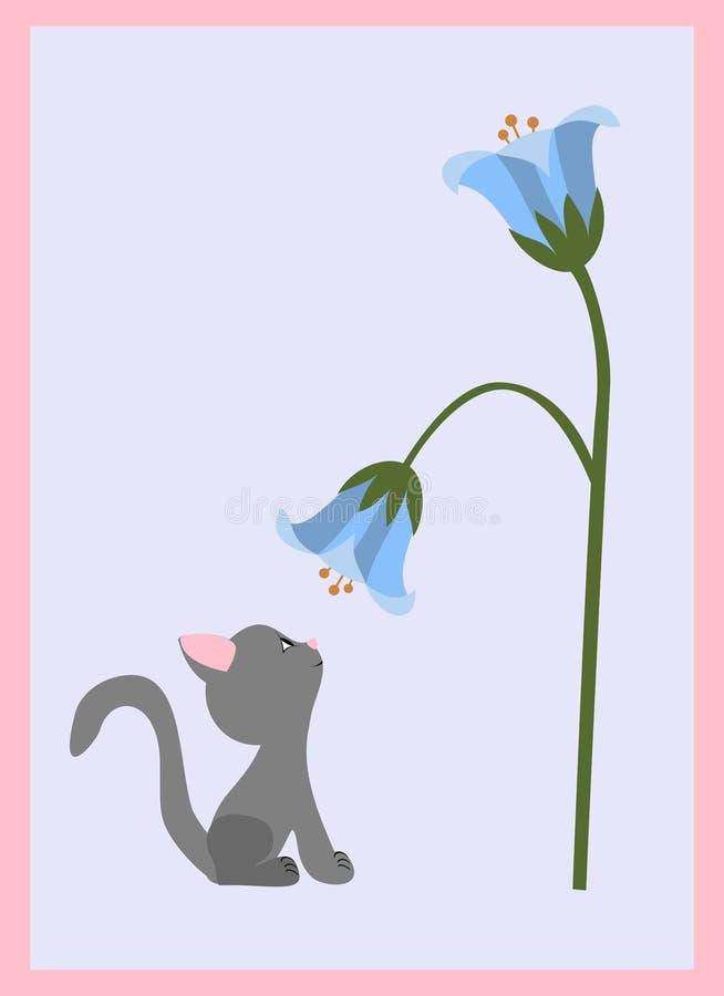 Katje en bloem stock illustratie