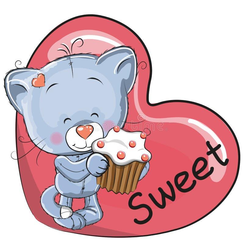 Katje met cake vector illustratie