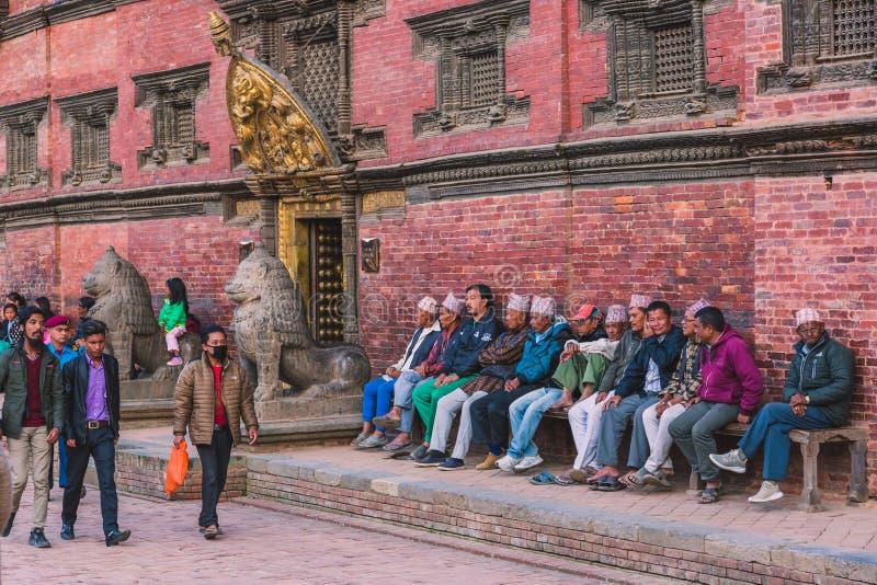 Katmandu Nepal - Oktober 26,2018: Den Patan templet, den Patan Durbar fyrkanten placeras på mitten av Lalitpur, Nepal Det är ett  royaltyfria foton