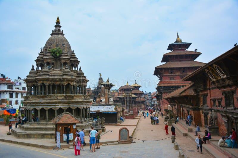 KATMANDU, NEPAL - OKTOBER 10, 2016 - Mooie mening van het Vierkant van Patan Durbar in Lalitpur, Nepal stock fotografie