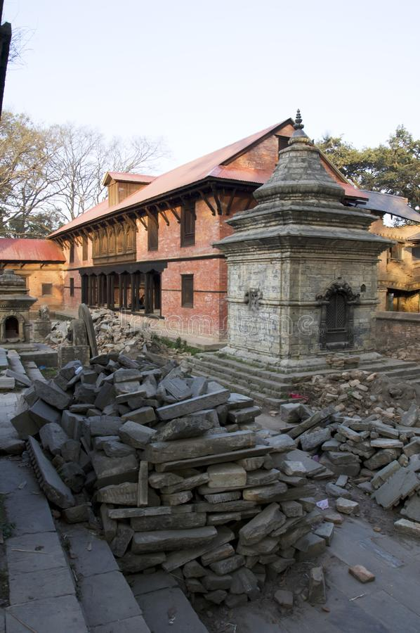 Katmandu recovery. Kathmandu, Nepal : Repair of temples after the earthquake in the crematory temple Pashupatinath royalty free stock photos