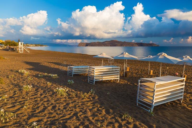 Kato Stalos-strand, Chania-prefectuur, Westelijk Kreta, Griekenland royalty-vrije stock foto