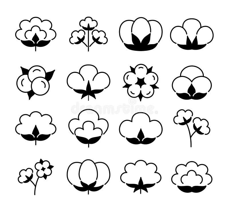 Katoenen bloem & bal De vlakke reeks van het lijnpictogram Symbool & embleem voor natuurlijke eco organische textiel, stof Zwarte vector illustratie