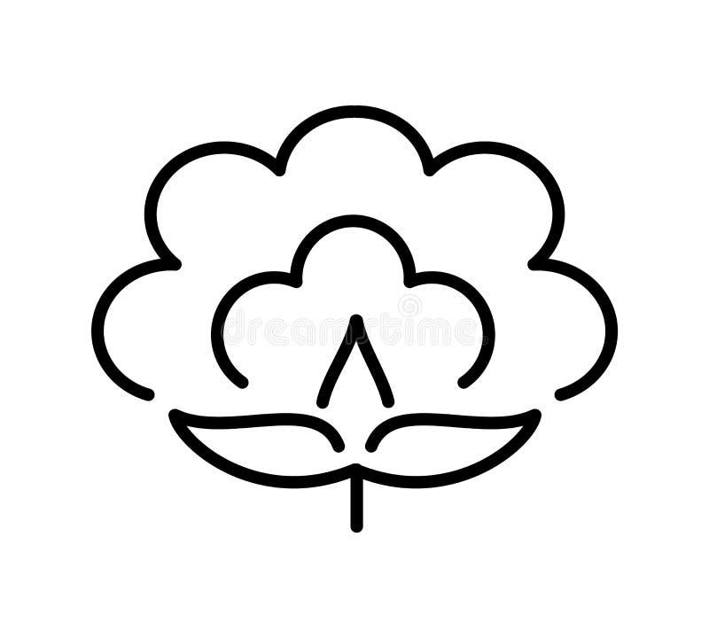 Katoenen bloem & bal Symbool, embleem van natuurlijke eco organische textiel, stof Lijnpictogram op witte achtergrond Vector illu royalty-vrije illustratie