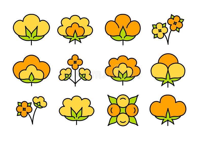 Katoenen bloem & bal Symbool & embleem van natuurlijke eco organische textiel, stof Reeks van het lijn de vlakke pictogram Kleurr vector illustratie