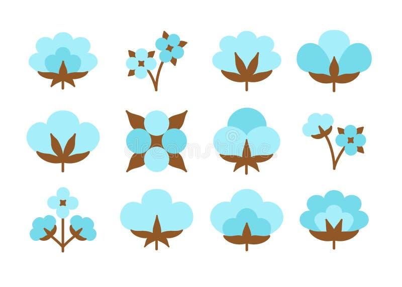 Katoenen bloem & bal Symbool & embleem van natuurlijke eco organische textiel, stof Vlak die pictogram op witte achtergrond wordt royalty-vrije illustratie