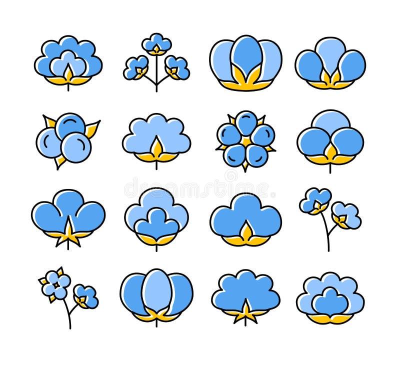 Katoenen bloem & bal Symbool & embleem van natuurlijke eco organische textiel, stof Vlakke pictogramreeks Vector illustratie vector illustratie