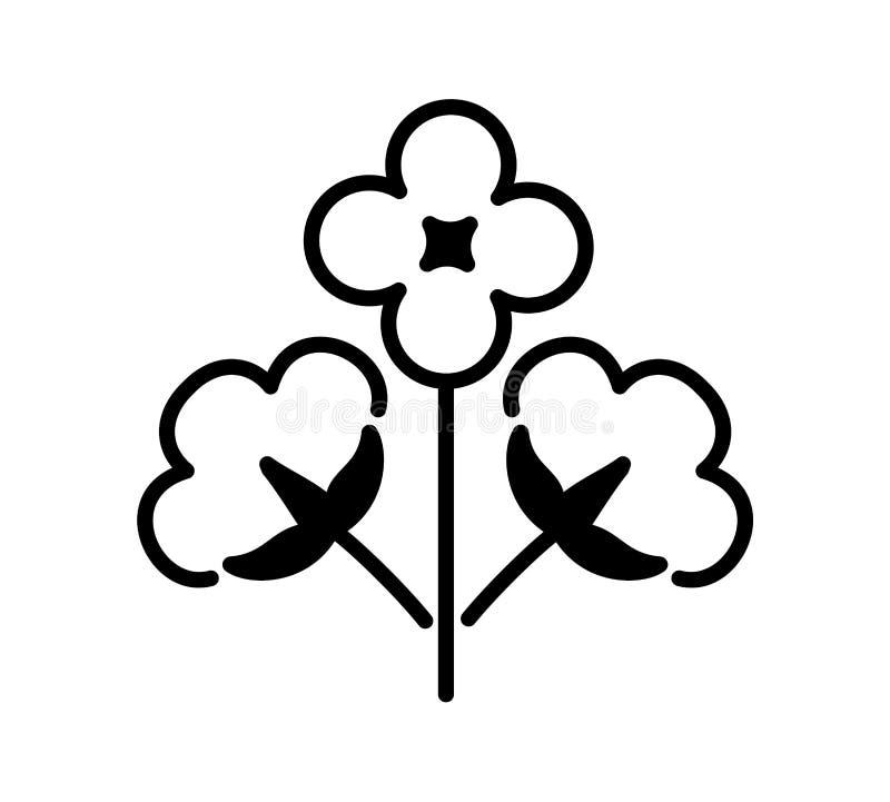 Katoenen tak met drie bloemen & ballen Symbool, embleem van natuurlijke eco organische textiel, stof Vlak lijnpictogram op witte  royalty-vrije illustratie