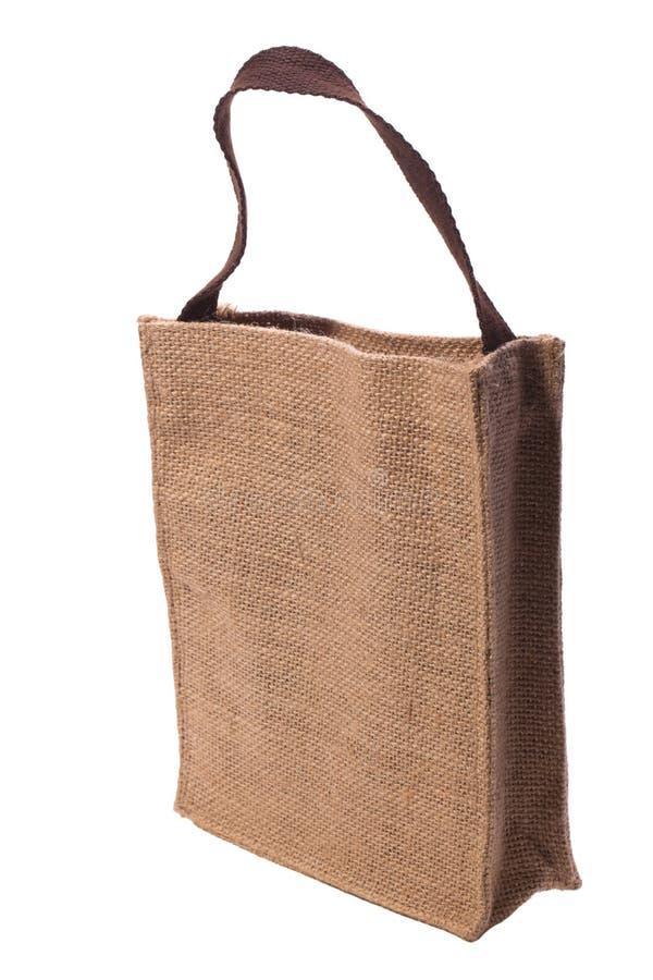 Katoenen zak op wit geïsoleerdee achtergrond. stock afbeelding