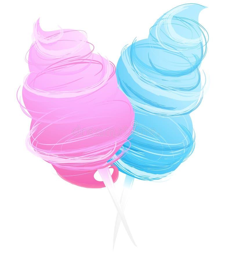Katoenen zoet die suikergoed op wit wordt geïsoleerd vector illustratie