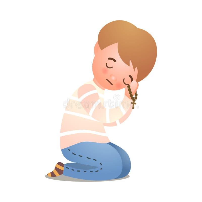 Katolicka chrześcijaństwo chłopiec oferty modlitwa bóg royalty ilustracja