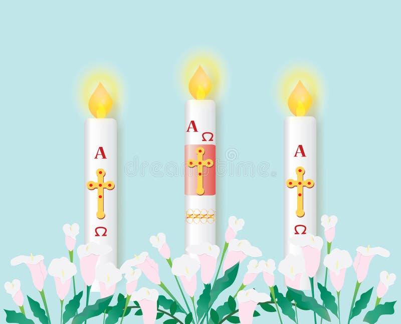 Katolicka paschalna świeczka z paleniem ilustracja wektor