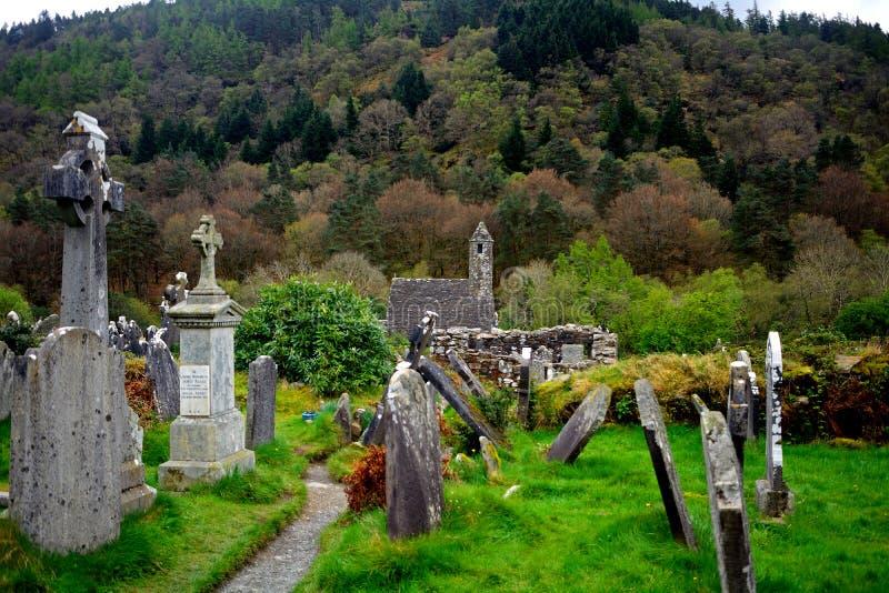 Katolickie monaster ruiny, Glendalough, Irlandia zdjęcie stock